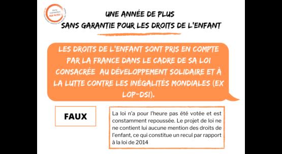 Les droits de l'enfant ne sont pas pris en compte par la France dans sa loi sur la solidarité et le développement